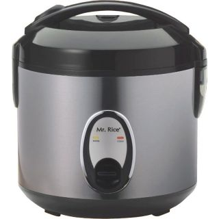 Stainless Steel Rice Cooker Electric Food Steamer Warmer w 4 Cup Teflon Pot
