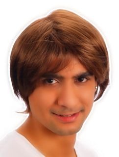 80s 90s Mens Cosplay Brown Boy Band Pop Star Short Wig Hair Fancy Dress Costume