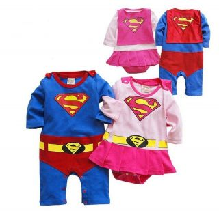 Party Costume Superman Supergirl Baby Infant Romper with Cloak Bodysuit 0 24M