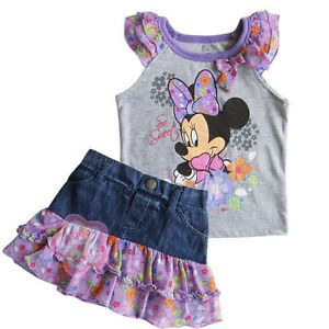 Minnie Mouse Girl Baby Top T Shirt Denim Jeans Dress Skirt Outfits Costume Sz 2T