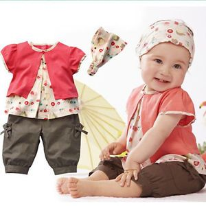 3pcs Girl Infant Baby Short Top Pants Headband Costume Clothing 0 36M