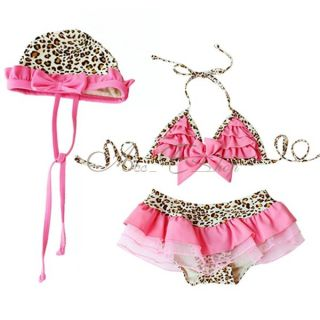 3pc Girl Pink Leopard Tutu Bikini Swimsuit Swimwear Swimming Costume Sz 2 6