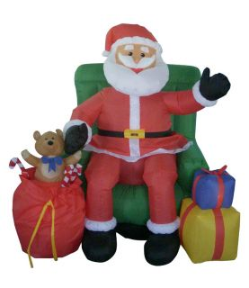 4' Airblown Inflatable Animated Musical Santa Chair Lighted Christmas Yard Art