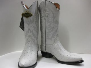 Men's White Leather Ostrich Cowboy Boots Western Rodeo Biker