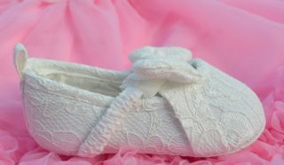 White Bow Lace Mary Jane Infant Toddler Baby Girl Shoes Size 1 2 3