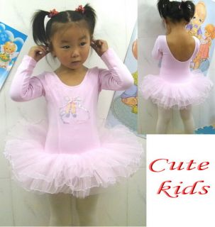 Girls Party Pink Leotard Ballet Tutu Costume Long Sleeve Dance Skate Dress 3 8Y