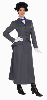 Mary Poppins English Nanny Dress Hat Adult Costume Dress Womens One Size