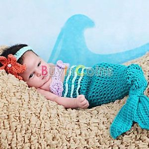 Cute Baby Girl Toddler Infant Mermaid Costume Set Photo Photography Prop 0 6M