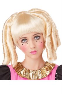 Brand New Baby Doll Curls with Bangs Halloween Costume Wig Blonde