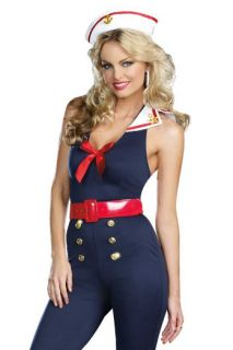 Large 4 PC Adult Pinup Girl Halloween Costume Bon Voyage Sailor