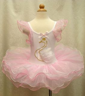 Girls Kids White Swan Party Ballet Leotard Dance Dress Tutu Skirt Costume Sz 1 8