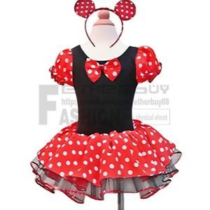 Xmas Polka Dots Minnie Mouse Baby Girl Fancy Party Costume Dress Up Gift 2T 10