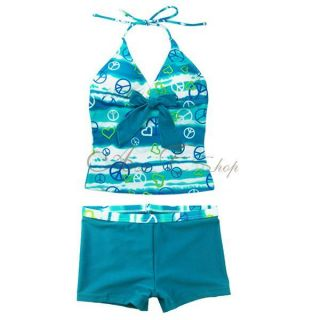Girls Halter Tankini Swimsuit Swimwear Swimming Costume Bathing Ages 8 10 12 14