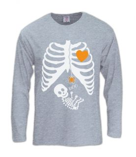 Pregnant Skeleton Halloween Costume Long Sleeve T Shirt Boy Girl Baby Maternity
