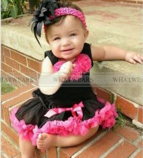 New 2pcs Baby Girl Kids Top Skirt Dress Tutu Pettiskirt Cloth Costume BLACKA2017