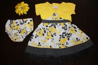 Easter Girls Toddler Boutique Tutu Sunflower Dress 4 PC Set Outfit Clothes 12M