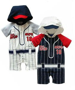 Newborn Baby Boys Baseball Casual Romper Pants Bodysuit Jumpsuits Sporty Clothes