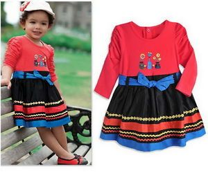 Baby Girls Dress Flower Party 1 5Y Belt Wedding Clothes Long Sleeve Ethnic Style