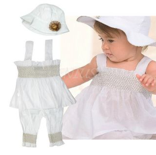 0 24M 3pcs Baby Girl Infant Ruffle Dress Pants Hat Set Outfit Clothes Costume