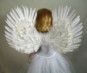 White Feather Angel Wings Halo Small Child Toddler Kids Halloween Fairy Costume