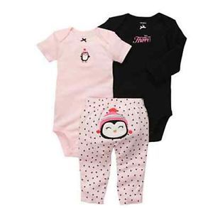 Carters Baby Girl Clothes 3 Piece Set Pink Penguin 3 6 9 12 18 24 Months
