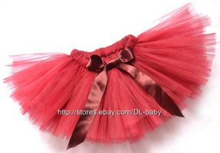 Wine Red Pegeant Party Costume Ballet Girl Toddler Child Baby Tutu Skirt 2T