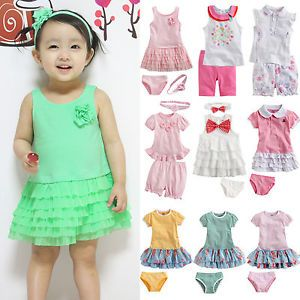 "Vaenait Baby Infant Girl Clothes Dress Outfits Outwear Headband Set ""Pinky"""