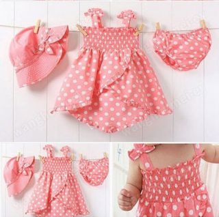 3pcs Kid Infant Baby Girl Polka Dot Dress Pants Hat Set Outfit Costume Clothes