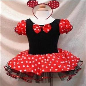 Girls Baby Kids Children Minnie Mouse Dance Tutu Dress Party Ballerina Costume