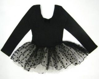 Black Girl Party Long Sleeve Leotard Ballet Tutu Costume Dance Skirt Dress 2 7Y