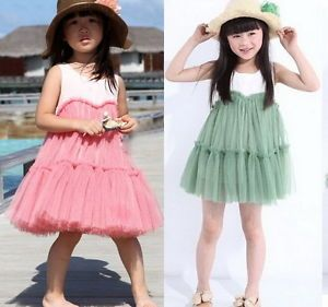 Girls Kids Baby Princess Cotton Tulle Tutu Pompon Dress 2 6Y Summer Costume Gift