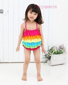 Cute Rainbow Baby Child Girl Swimming Costume Swimsuit Swim Wear 2 4 Years
