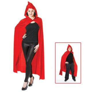 Long Red Cape Hooded Little Red Riding Hood Fancy Dress Adult Costume Accessory