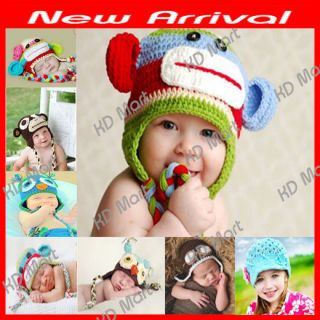 Newborn Large Baby Girls Boys Beanie Hat Crochet Owl Flower Bear Ear Photo Prop