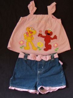 Baby Girls Sesame Street Pink Embroidered Top Jean Shorts Size 4T