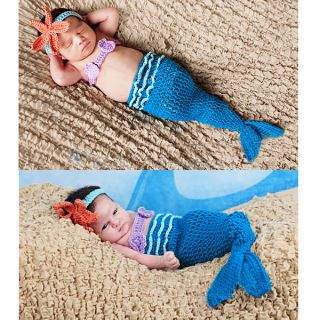 Cute Baby Toddler Newborn Infant Mermaid Costume Set Photo Photography Prop Blue