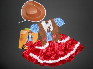 New Girls Dress Up Clothes Size 2T Cowgirl Cowboy Hat Western Dance Costume
