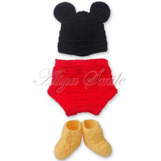 Mickey Mouse Newborn Baby Boy Girl 12 24M Costume Set Crochet Knit Outfits Photo