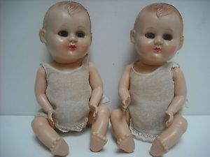 Pair of 1950's Twin Rosebud Baby Dolls in Original Clothes