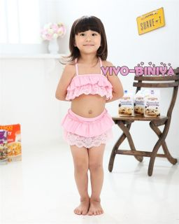 Pink Girls Kids Lace Top Tutu Swimsuit Swimwear Bikini Swimming Costume Sz 2 6