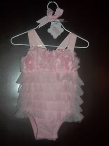 Mud Pie Baby Girl Pink Tiered Chiffon Ruffle Rosette Bubble 6 9 Month