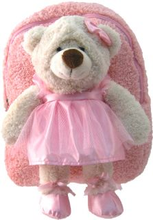Kreative Kids Soft Plush Pink Backpack Ballerina Bear for Little Ones