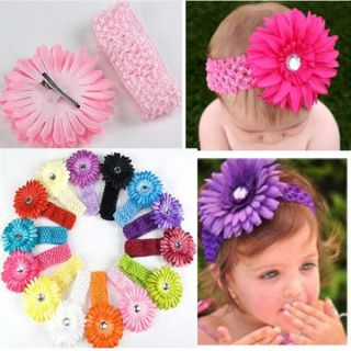 Baby Girl Crochet Headband Hair Band with Daisy Flower 14 Colors Best Seller TCQ