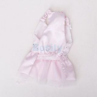 Cute Satin Lace Decor Bowtie Wedding Slipdress Puppy Pet Dog Dress Clothes Pink