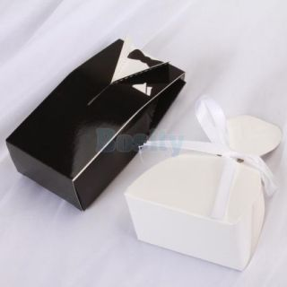 A Pair Tuxedo and Dress Wedding Favor Candy Gift Boxes Black and White