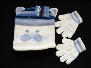 New Toddler Girls Kitty Cat Winter Hat Gloves Set