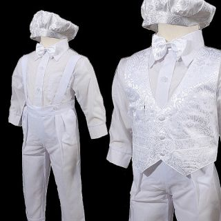 KD275 New 5pcs Baby Boys White Christening Baptism Suit Outfits Size 0 3T