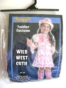 Cowgirl Wild West Cutie Toddler Girls Halloween Costume Pink Dress Hat 3 4 T