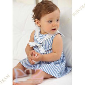 Girls Kids Baby Toddler 0 3Y Stripe Dress Single Skirt Outfit Set Clothing FT85