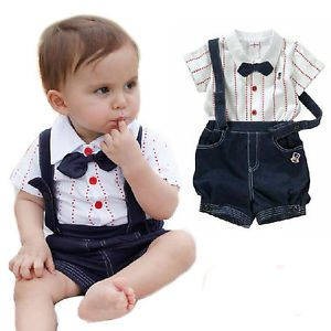 Baby Toddler Clothes Kid Boy Top Overalls Pant Shorts Bowtie Tuxedo Outfit 1 4Y